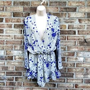 Lioness》 Blue & Gray Paisley Printed Romper